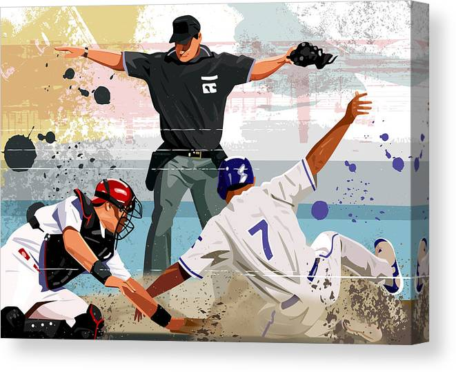 Helmet Canvas Print featuring the digital art Baseball Player Safe At Home Plate by Greg Paprocki