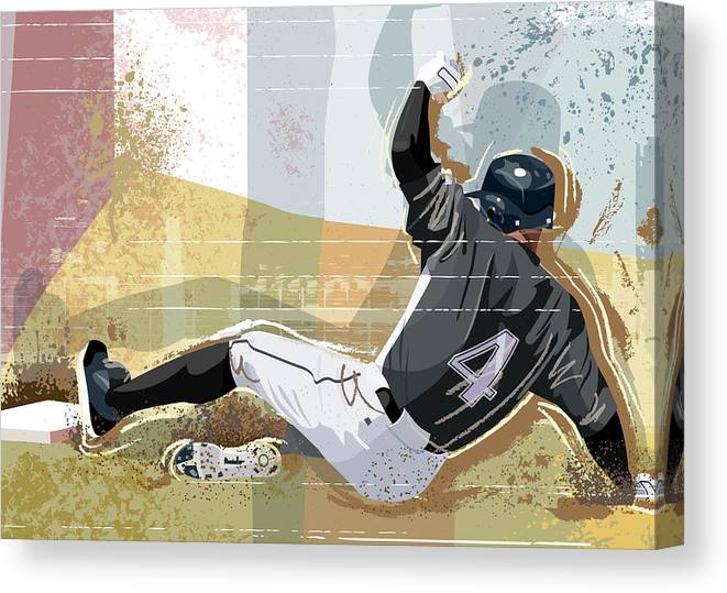 Sports Helmet Canvas Print featuring the digital art Baseball Player Sliding Into Base by Greg Paprocki