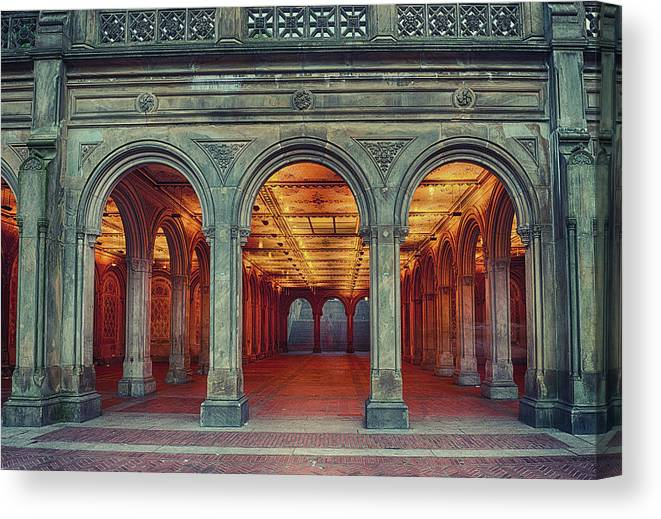 Arch Canvas Print featuring the photograph Bethesda Terrace In Central Park - Hdr by Rontech2000