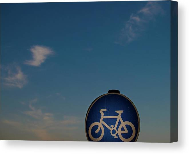 Outdoors Canvas Print featuring the photograph Bicycle Sign With Sky by Photography By Stuart Mackenzie (disco~stu)