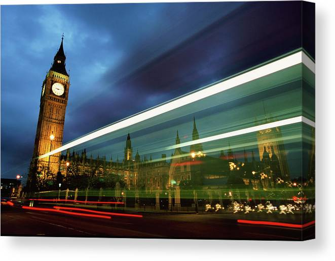 Gothic Style Canvas Print featuring the photograph Big Ben And The Houses Of Parliament by Allan Baxter