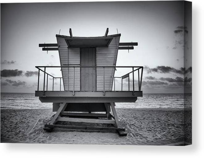 Outdoors Canvas Print featuring the photograph Black And White Lifeguard Stand In by Boogich