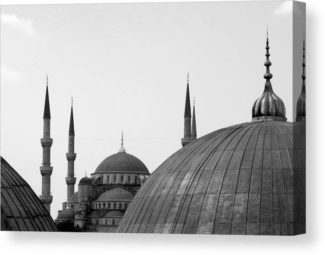 Istanbul Canvas Print featuring the photograph Blue Mosque, Istanbul by Dave Lansley