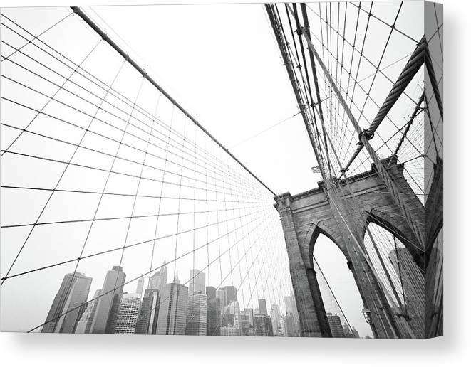 Wire Canvas Print featuring the photograph Brooklyn Bridge Cityscape by Digi guru