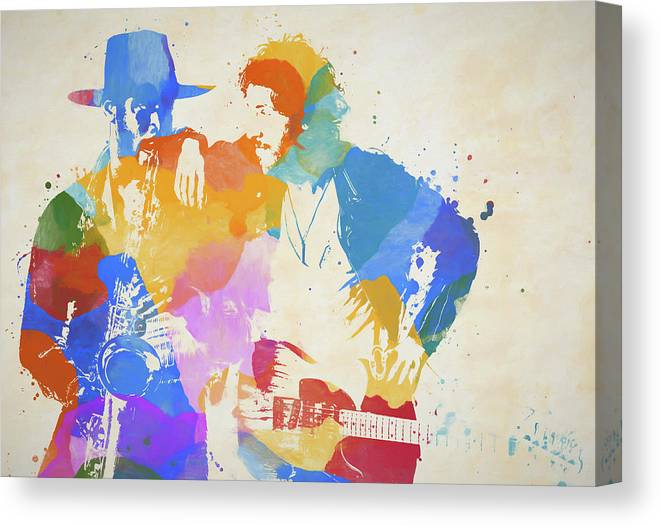Bruce And The Big Man Canvas Print featuring the painting Bruce And The Big Man Watercolor Splatter by Dan Sproul