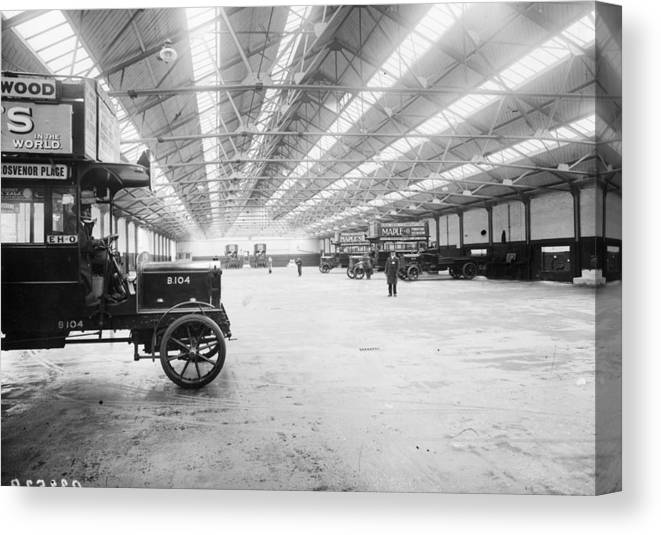 Engine Canvas Print featuring the photograph Bus Garage by Hulton Archive