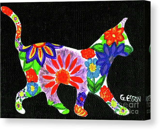 Cat Canvas Print featuring the painting Cat In Floral Silhouette by Genevieve Esson