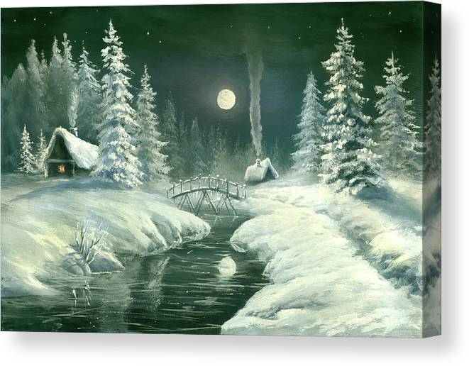 Art Canvas Print featuring the digital art Christmas Night In The Country by Pobytov