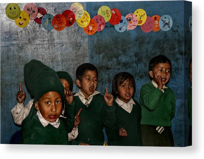 Nepal Canvas Print featuring the photograph Classroom Song by Yvette Depaepe
