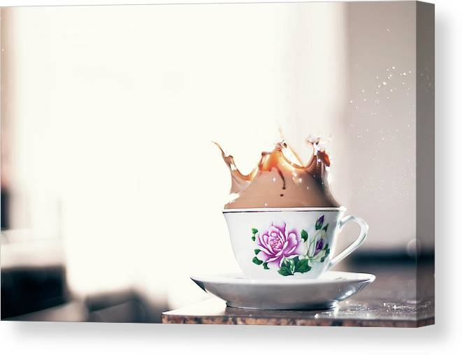 Motion Canvas Print featuring the photograph Coffee Splash In Kitchen by Photographs By Vitaliy Piltser