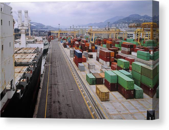 Freight Transportation Canvas Print featuring the photograph Container Shipping, Port Of Genoa, Italy by Alberto Incrocci