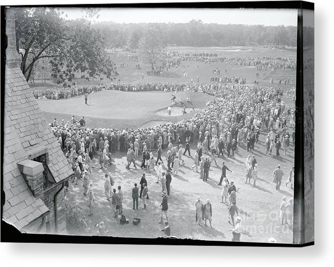 Crowd Of People Canvas Print featuring the photograph Crowd Watching Bobby Jones During Golf by Bettmann