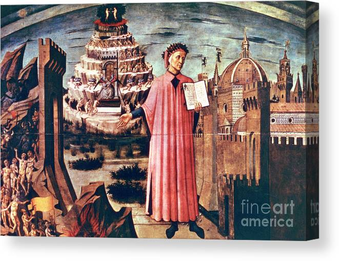 Poetry Canvas Print featuring the drawing Dante And His Poem The Divine Comedy by Print Collector