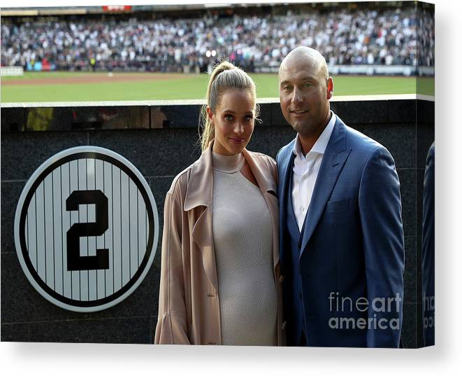 People Canvas Print featuring the photograph Derek Jeter Ceremony by Elsa