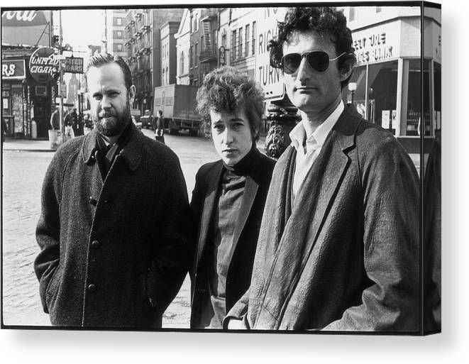 Three Quarter Length Canvas Print featuring the photograph Dylan & Others In Sheridan Square by Fred W. McDarrah
