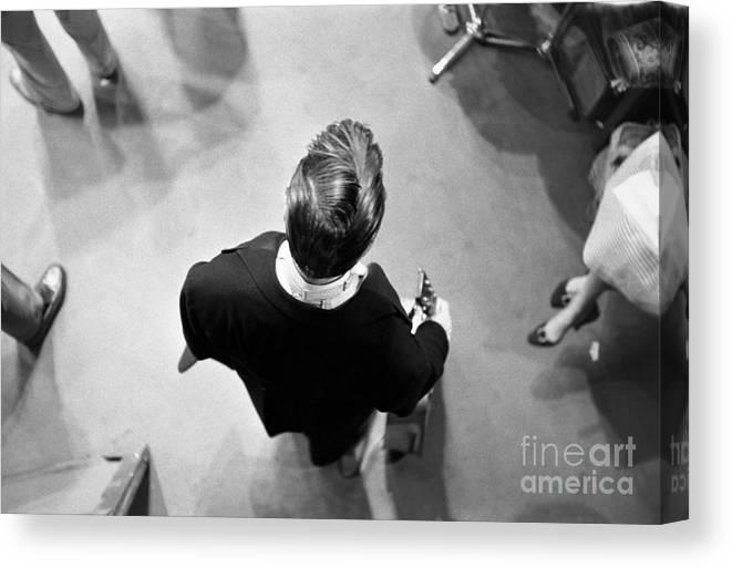Singer Canvas Print featuring the photograph Elvis Backstage by Alfred Wertheimer