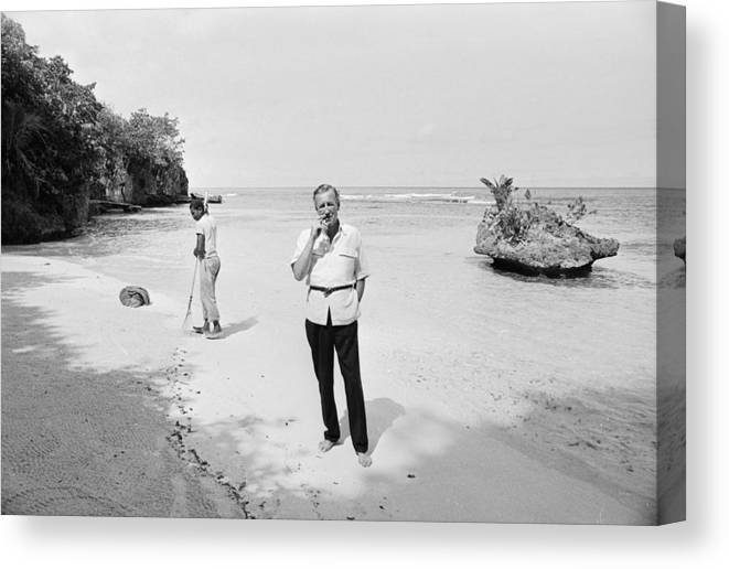Ian Fleming Canvas Print featuring the photograph Fleming In Jamaica by Harry Benson
