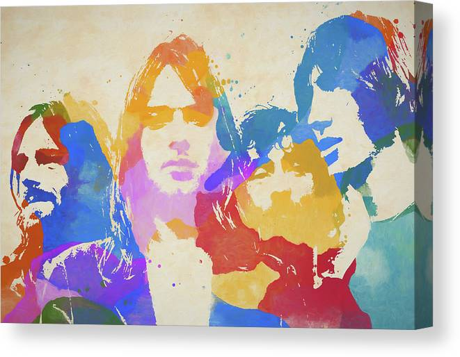 Pink Floyd Poster Canvas Print featuring the painting Floyd Paint Splatter by Dan Sproul