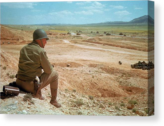 Timeincown Canvas Print featuring the photograph General Patton In The Desert by Eliot Elisofon