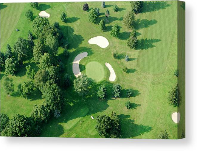 Sand Trap Canvas Print featuring the photograph Golf Course Close Up From The Air by Groveb