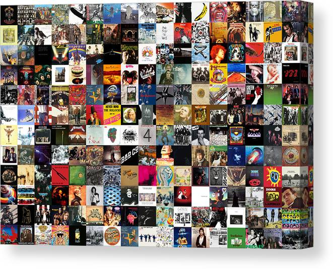 Album Covers Canvas Print featuring the digital art Greatest Rock Albums of All Time by Zapista OU