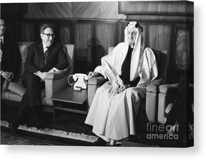 People Canvas Print featuring the photograph Henry Kissinger With King Faisal by Bettmann