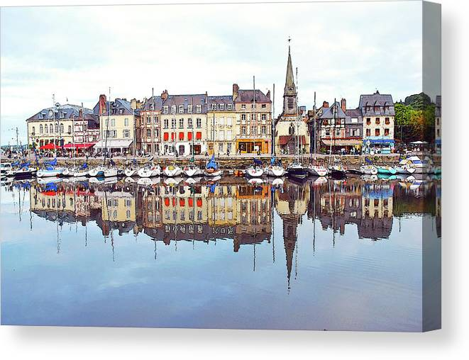 Tranquility Canvas Print featuring the photograph Houses Reflection In River, Honfleur by Ana Souza