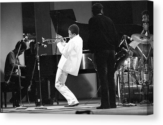 Performance Canvas Print featuring the photograph Hugh Masekela Performing by Tom Copi