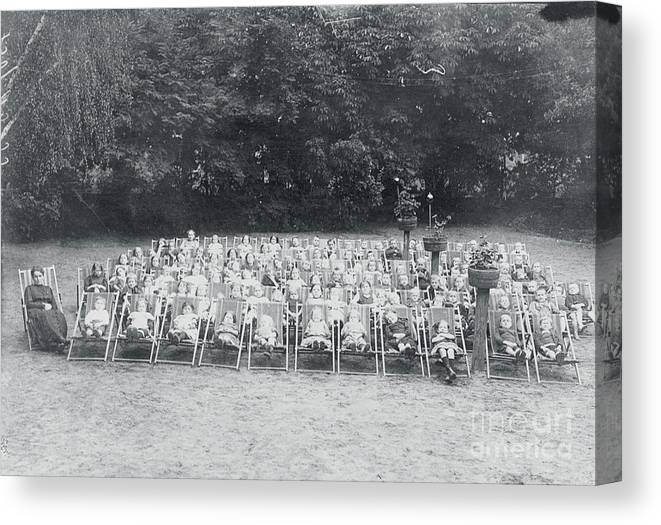 People Canvas Print featuring the photograph Ill Children Resting At Camp by Bettmann