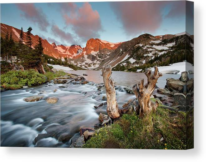 Alpenglow Canvas Print featuring the photograph Indian Peaks Wilderness Lake Isabelle by Kjschoen
