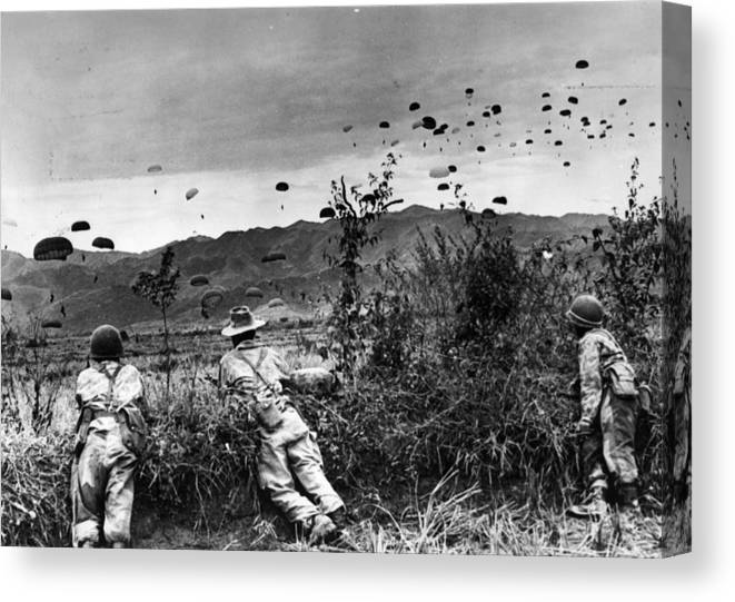 Parachuting Canvas Print featuring the photograph Indo China by Keystone