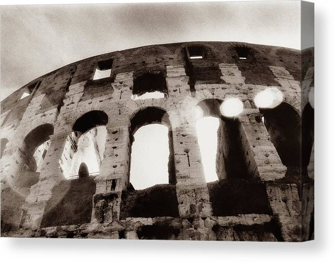 Roman Canvas Print featuring the photograph Italy, Rome, The Colosseum, Low Angle by Carolyn Bross