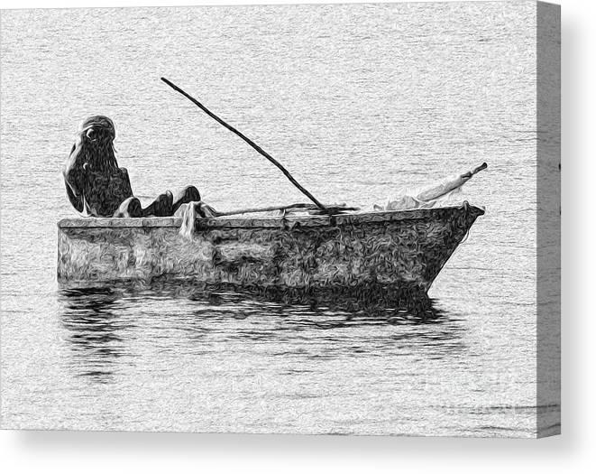 Ocho Rios Canvas Print featuring the digital art Jamaican Fisherman In Ocho Rios Jamaica by Kenneth Montgomery