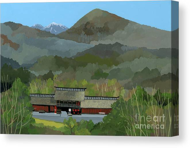 Japanese Countryside Canvas Print featuring the painting Japanese Countryside by Hiroyuki Izutsu