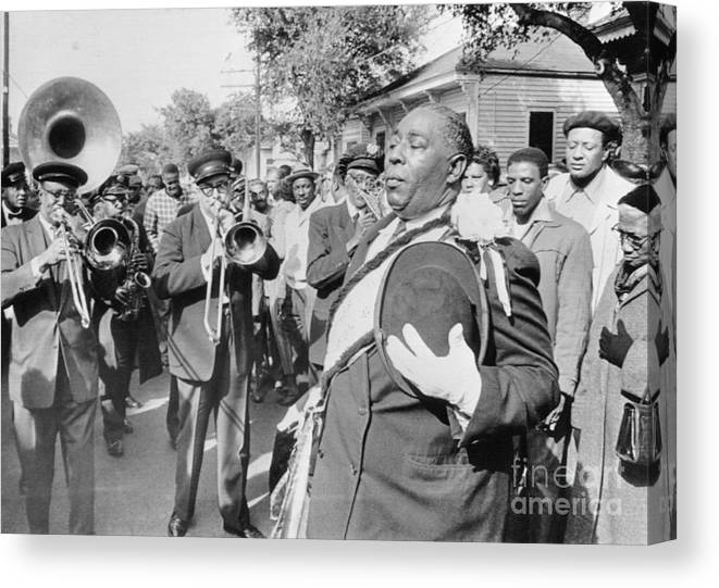 Fedora Canvas Print featuring the photograph Jazz Funeral For Bandleader John Casimir by Bettmann