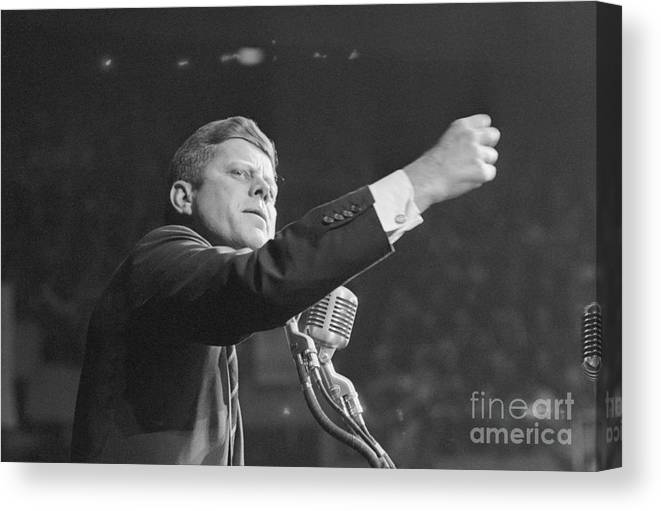 Nominee Canvas Print featuring the photograph John Kennedy Clenching His Fist by Bettmann