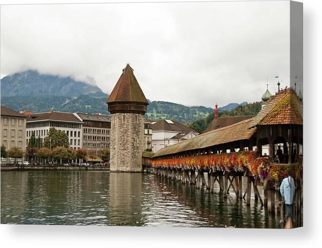 Scenics Canvas Print featuring the photograph Kapellbrucke On Reuss River, Lucerne by Cultura Rf/rosanna U