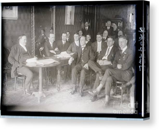 Employment And Labor Canvas Print featuring the photograph Leaders At Steel Strike Meeting by Bettmann