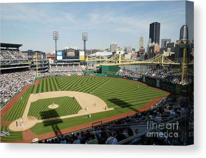 Opening Ceremony Canvas Print featuring the photograph Los Angeles Dodgers V Pittsburgh Pirates by Rick Stewart