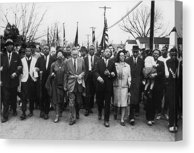 Marching Canvas Print featuring the photograph Luther King Marches by William Lovelace