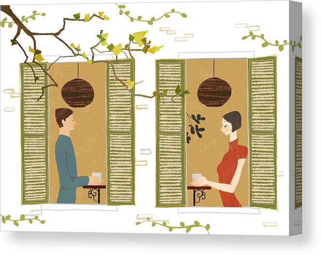 Young Men Canvas Print featuring the digital art Man And Woman Drinking Coffee View From by Eastnine Inc.
