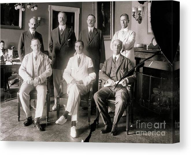Central Bank Canvas Print featuring the photograph Members Of Federal Reserve Board by Bettmann