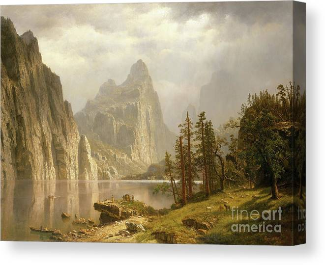 Oil Painting Canvas Print featuring the drawing Merced River by Heritage Images