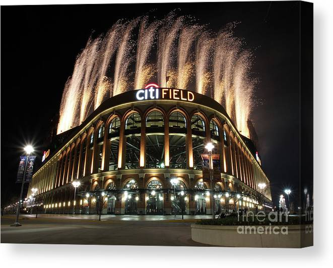 American League Baseball Canvas Print featuring the photograph Miami Marlins V New York Mets by Christopher Pasatieri