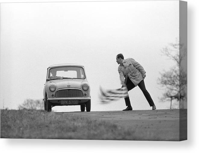 People Canvas Print featuring the photograph Mini Rally by Bert Hardy Advertising Archive