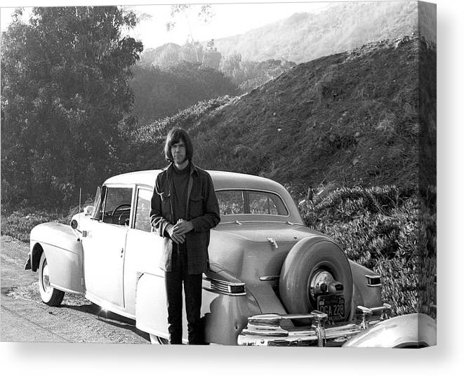 Singer Canvas Print featuring the photograph Neil Young And His Classic Car by Michael Ochs Archives