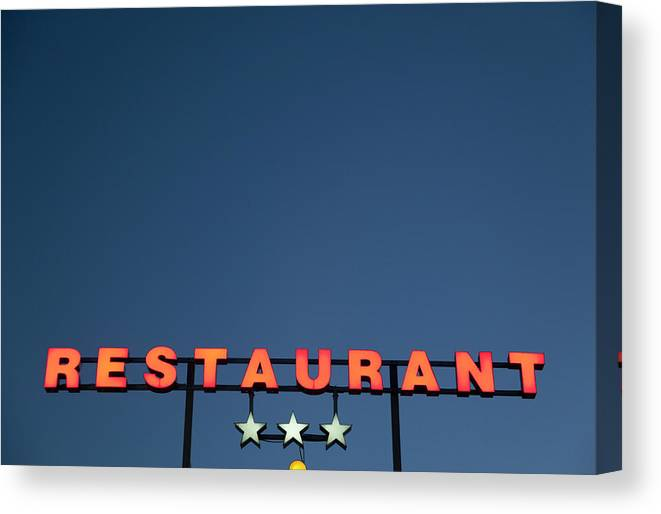 Temptation Canvas Print featuring the photograph Neon 3 Star Restaurant Sign by Henglein And Steets