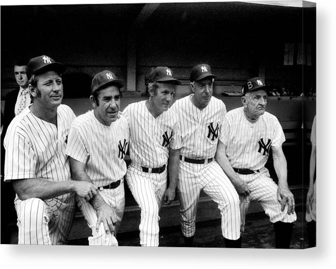 American League Baseball Canvas Print featuring the photograph New York Yankees Hall Of Famers At Old by New York Daily News Archive