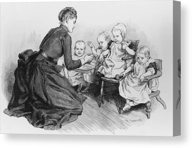 Toddler Canvas Print featuring the photograph Nspcc Care by Hulton Archive
