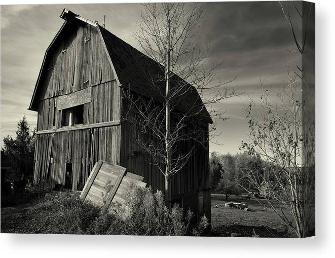 Old Barn Autumn B&w Canvas Print featuring the photograph Old Barn Autumn B&w by Anthony Paladino